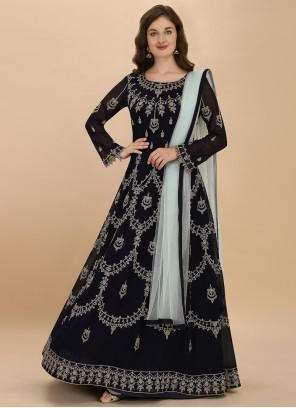 Georgette Embroidered Black Anarkali Salwar Suit