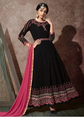 Georgette Embroidered Black Desinger Anarkali Salwar Suit