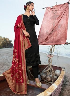 Georgette Embroidered Black Salwar Kameez