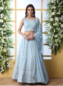 Georgette Embroidered Blue Trendy Lehenga Choli