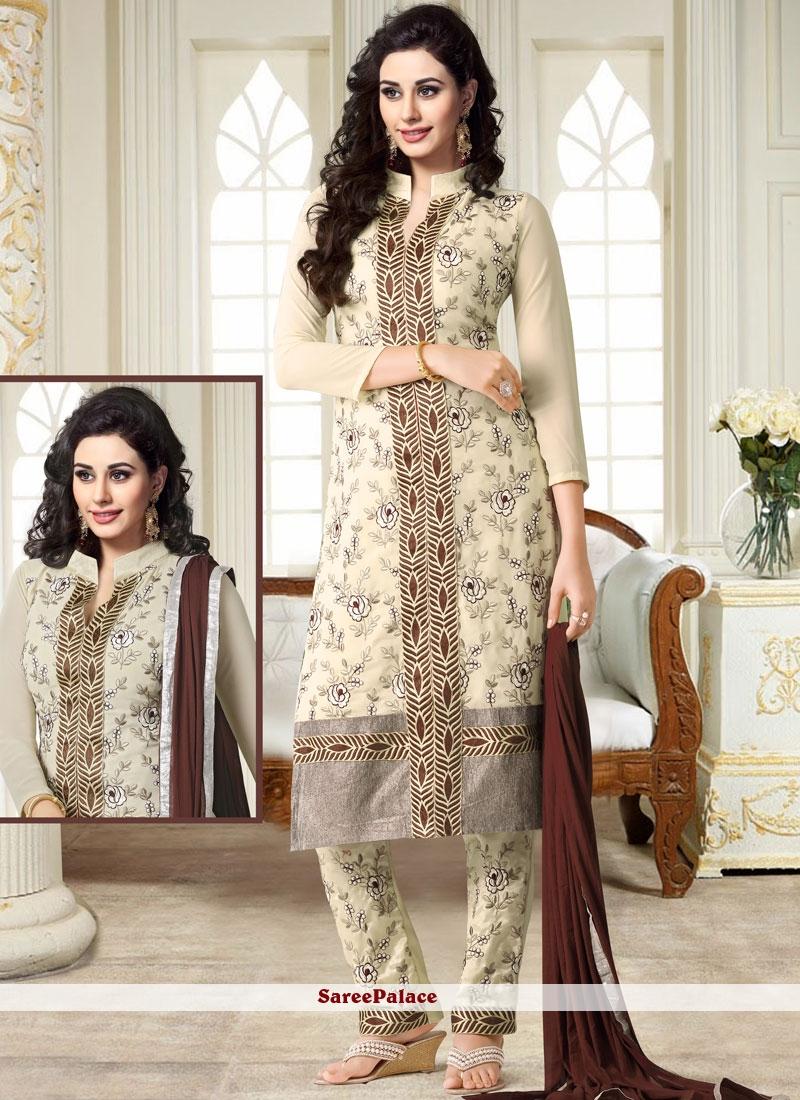 Cream Georgette Embroidered Churidar Suit