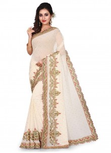 Georgette Embroidered Cream Designer Traditional Saree