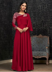 Georgette Embroidered Designer Gown in Red