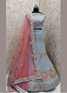 Georgette Embroidered Designer Lehenga Choli in Grey