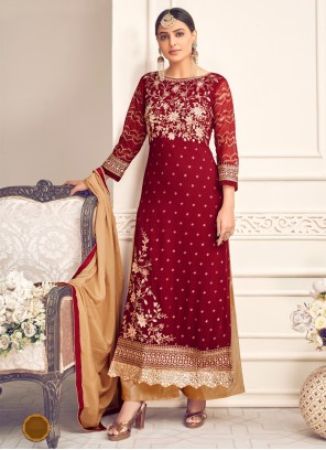 Georgette Embroidered Designer Palazzo Salwar Suit in Maroon