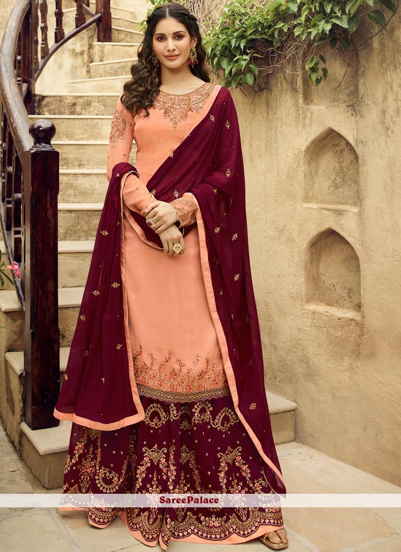 Georgette Embroidered Designer Salwar Suit in Peach