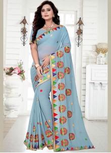 Georgette Embroidered Designer Saree in Blue