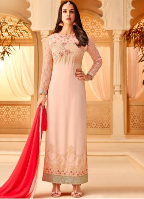 Georgette Embroidered Designer Straight Salwar Kameez in Pink