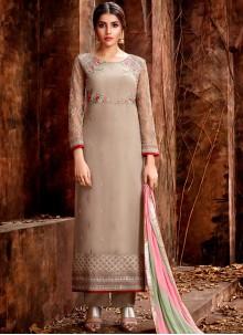 Georgette Embroidered Designer Straight Salwar Suit