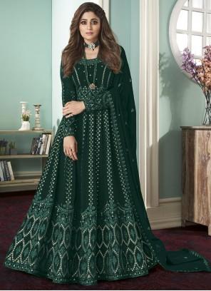 Georgette Embroidered Green Bollywood Salwar Kameez
