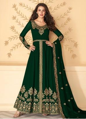 Georgette Embroidered Green Designer Suit