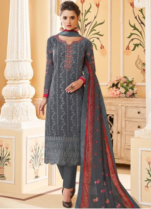 Georgette Embroidered Grey Pant Style Suit