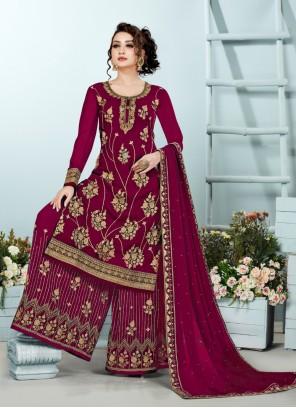 Georgette Embroidered Maroon Designer Pakistani Suit