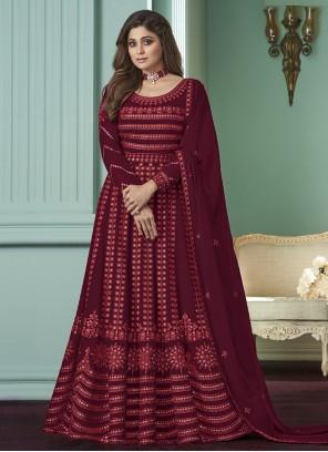 Georgette Embroidered Maroon Salwar Suit