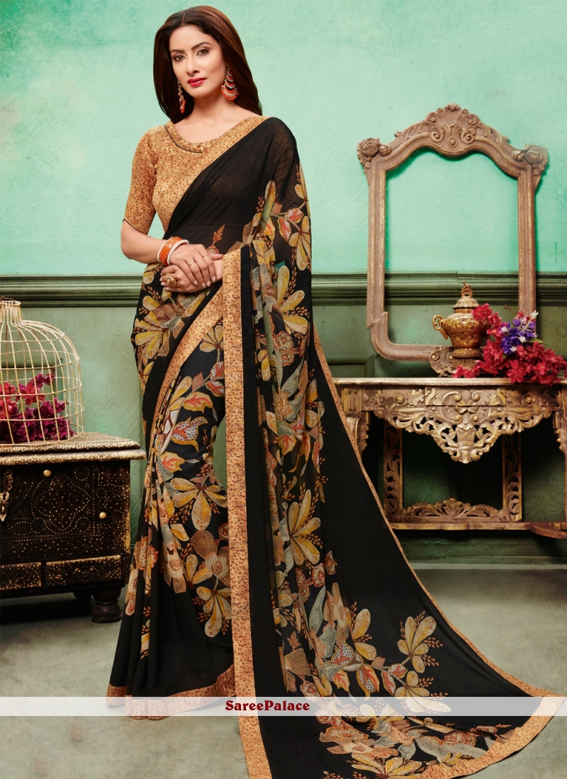 Georgette Embroidered Multi Colour Traditional Saree