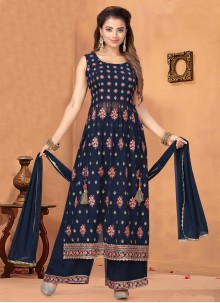 Georgette Embroidered Palazzo Navy Blue Salwar Kameez