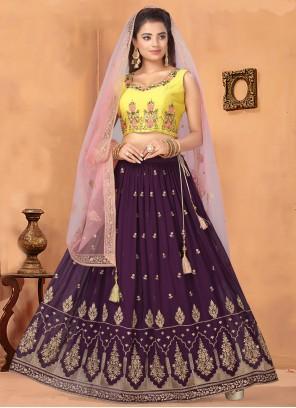 Georgette Embroidered Purple Bollywood Lehenga Choli