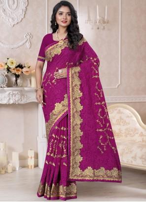 Georgette Embroidered Purple Classic Designer Saree