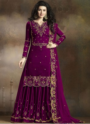 Georgette Embroidered Purple Palazzo Salwar Suit