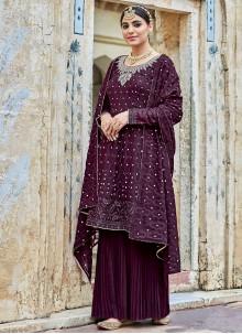 Georgette Embroidered Purple Trendy Salwar Kameez