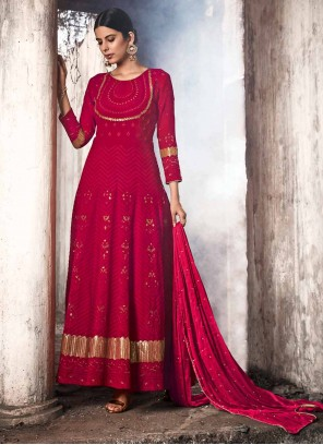 Georgette Embroidered Red Anarkali Suit
