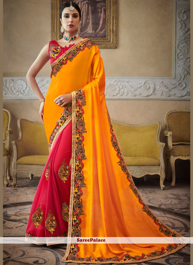 Georgette Embroidered Red and Yellow Half N Half  Saree