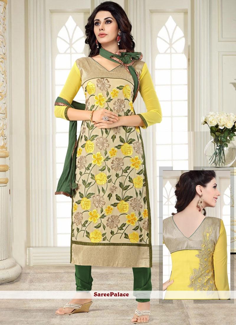 Yellow Georgette Embroidered Salwar Kameez