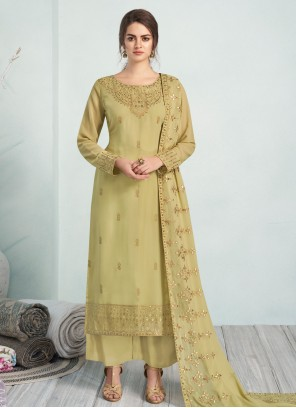 Georgette Pista Green Embroidered Trendy Salwar Suit