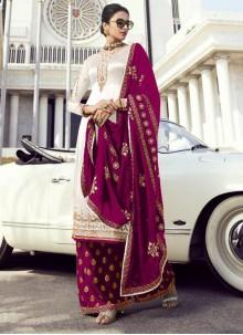 Georgette Embroidered White Palazzo Designer Suit