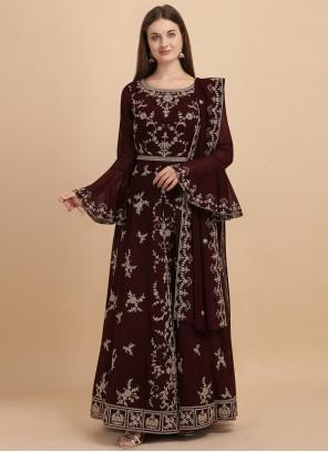 Georgette Embroidered Wine Anarkali Salwar Suit