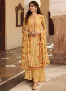 Georgette Embroidered Yellow Palazzo Salwar Kameez