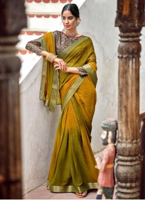 Georgette Fancy Bollywood Saree in Green and Mustard
