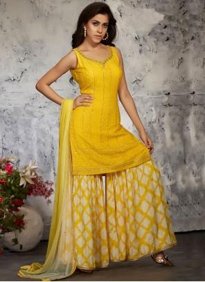 Georgette Fancy Designer Palazzo Suit in Yellow