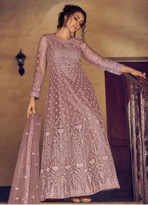 Georgette Fancy Floor Length Anarkali Salwar Suit in Mauve