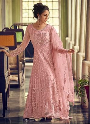 Georgette Fancy Pink Designer Floor Length Salwar Suit