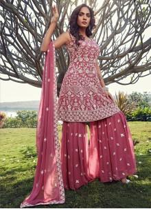 Georgette Fancy Readymade Suit in Pink