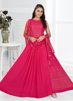 Georgette Floor Length Anarkali Salwar Suit in Magenta