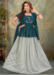 Georgette Floor Length Anarkali Suit in Teal