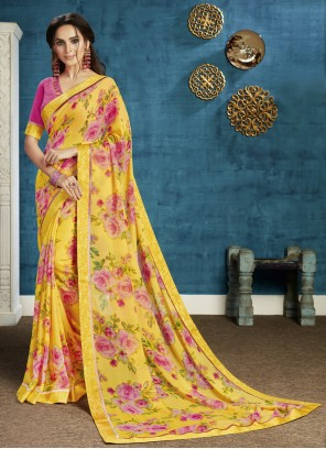 Georgette Floral Print Bollywood Saree in Yellow