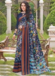 Georgette Floral Print Casual Saree in Multi Colour