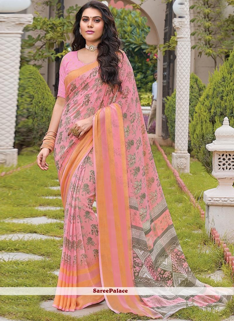 Pink Georgette Floral Print Trendy Saree