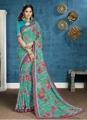Georgette Floral Print Trendy Saree in Green