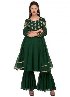Green Georgette Readymade Salwar Suit