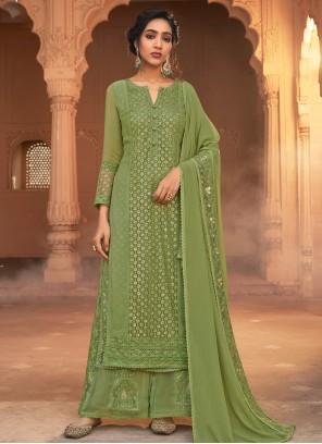 Georgette Green Designer Pakistani Salwar Suit