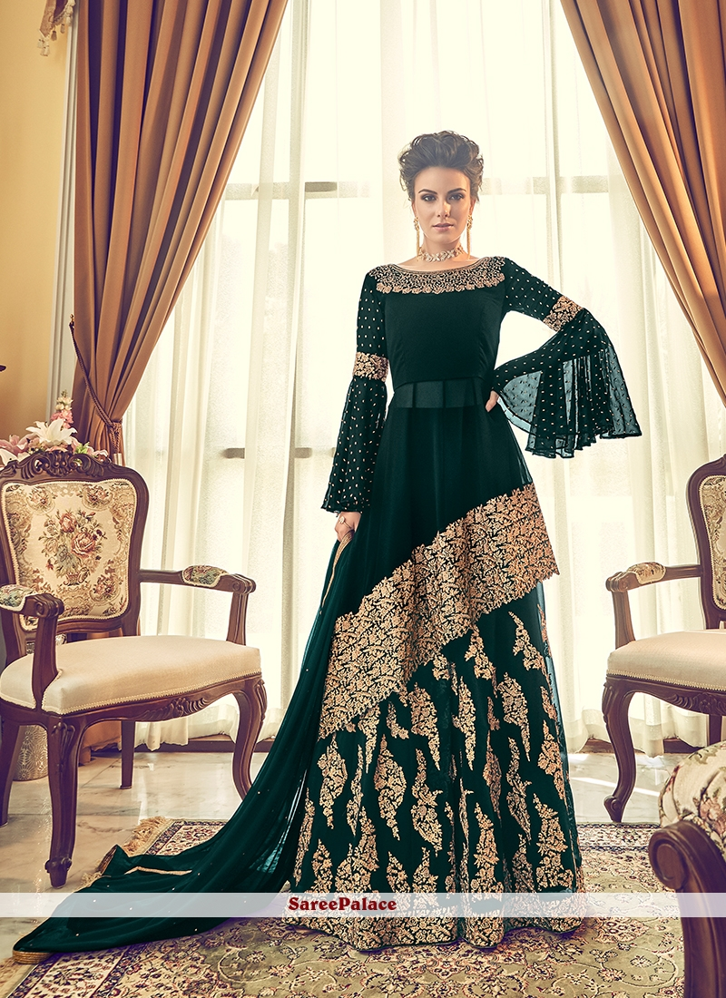 Georgette Green Embroidered Designer Lehenga Choli