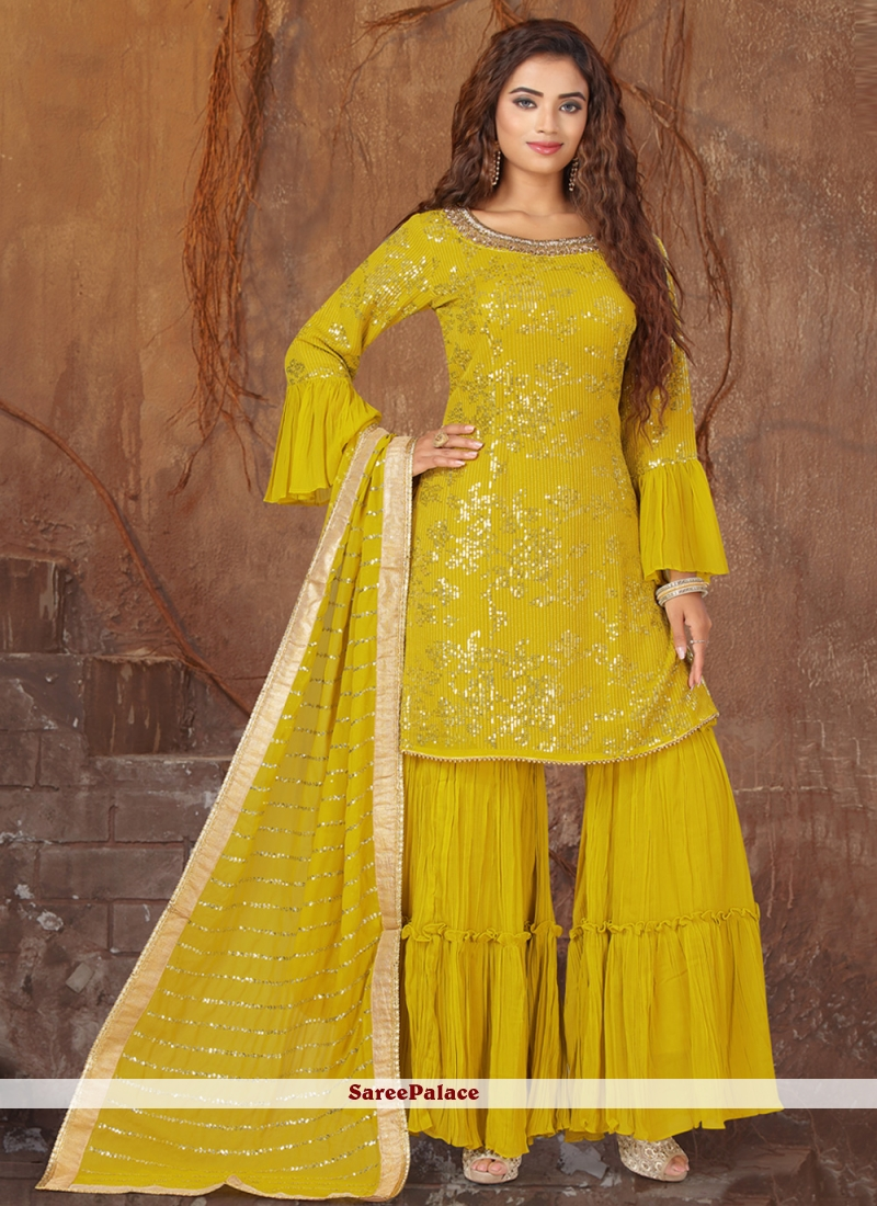 Georgette Green Embroidered Designer Palazzo Suit