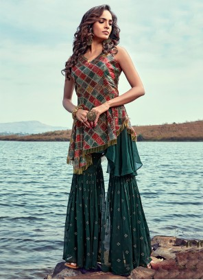 Georgette Green Embroidered Readymade Suit
