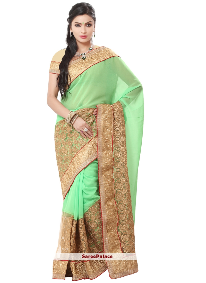 Georgette Green Embroidered Traditional Saree