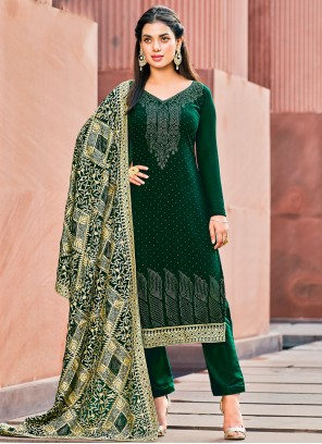 Georgette Green Pant Style Suit