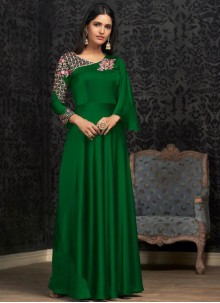 Georgette Green Trendy Gown